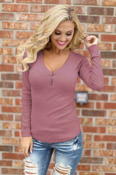 Keep It Simple Ribbed Henley Tops - solid v-neck henley top, dusty rose, Closet Candy Boutique