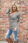 Keep It Simple Ribbed Henley Tops - solid v-neck henley top, olive, Closet Candy Boutique