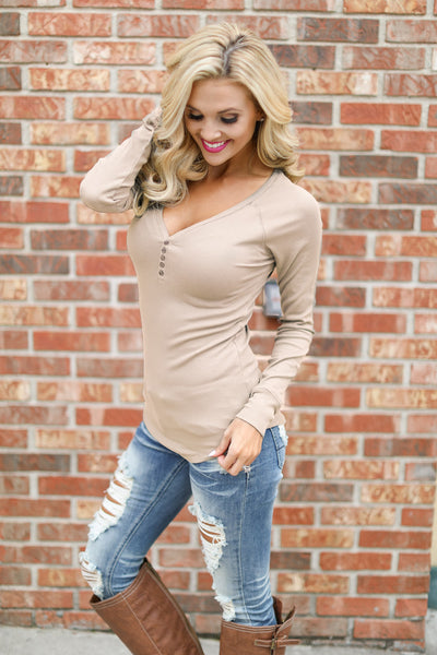 Keep It Simple Ribbed Henley Tops - solid v-neck henley top, latte, Closet Candy Boutique