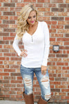 Keep It Simple Ribbed Henley Tops - solid v-neck henley top, white, Closet Candy Boutique
