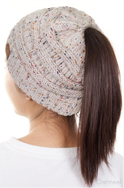 Messy Bun Melange Beanies - knit speckled beanies, oatmeal, Closet Candy Boutique