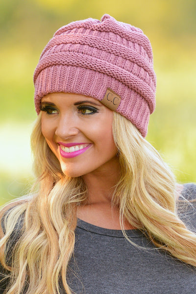 Slouchy Knit Beanies - cute mauve knit beanie hat, trendy fall style, Closet Candy Boutique