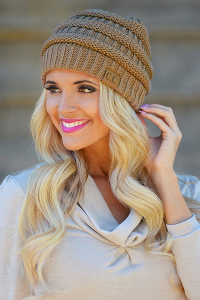 Slouchy Knit Beanies - cute mocha knit beanie hat, trendy fall style, Closet Candy Boutique