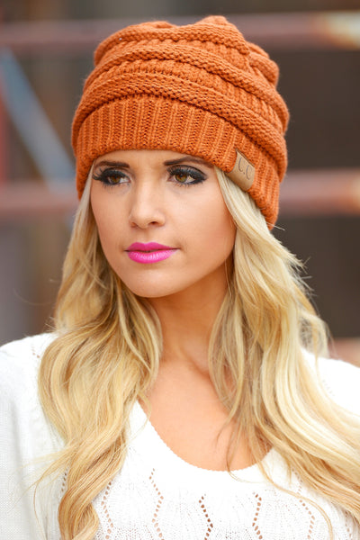 Slouchy Knit Beanies - cute rust knit beanie hat, trendy fall style, Closet Candy Boutique