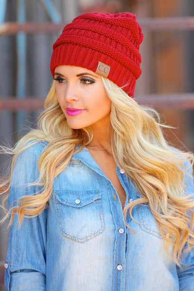 Slouchy Knit Beanies - cute red knit beanie hat, trendy fall style, Closet Candy Boutique
