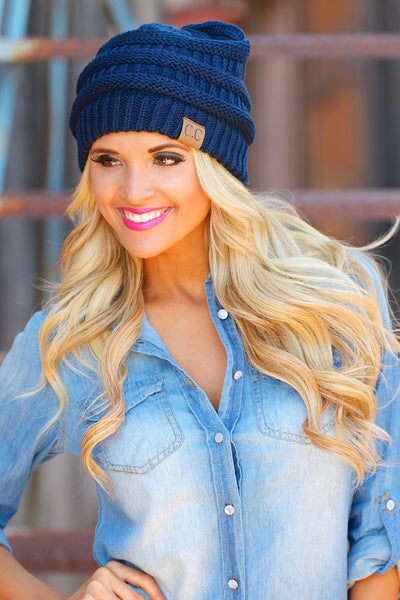 Slouchy Knit Beanies - cute navy knit beanie hat, trendy fall style, Closet Candy Boutique