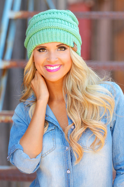 Slouchy Knit Beanies - cute mint knit beanie hat, trendy fall style, Closet Candy Boutique