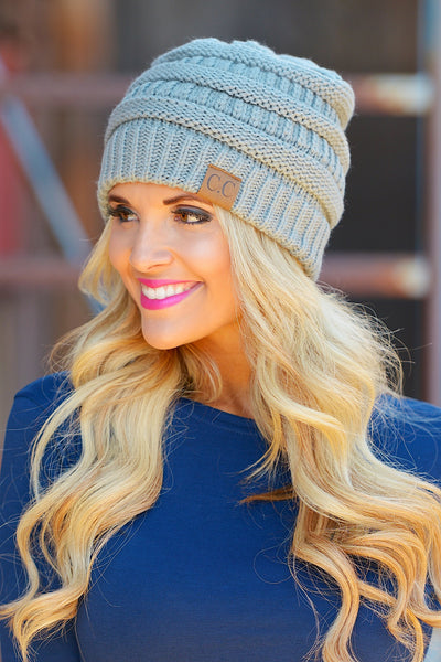 Slouchy Knit Beanies - cute cool grey knit beanie hat, trendy fall style, Closet Candy Boutique