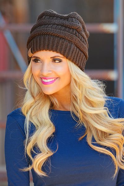 Slouchy Knit Beanies - cute chocolate knit beanie hat, trendy fall style, Closet Candy Boutique