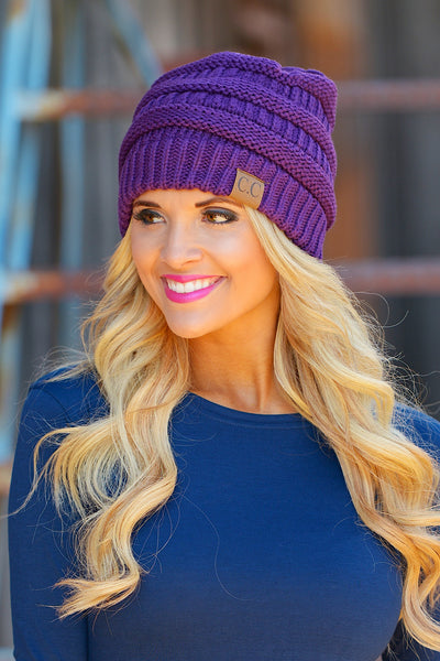 Slouchy Knit Beanies - cute purple knit beanie hat, trendy fall style, Closet Candy Boutique