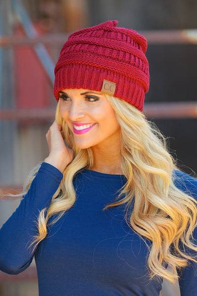 Slouchy Knit Beanies - cute burgundy knit beanie hat, trendy fall style, Closet Candy Boutique