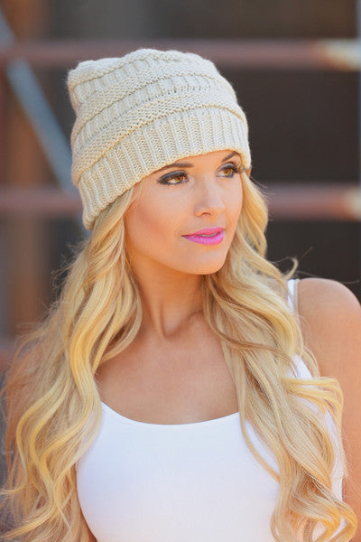 Slouchy Knit Beanies - cute latte knit beanie hat, trendy fall style, Closet Candy Boutique