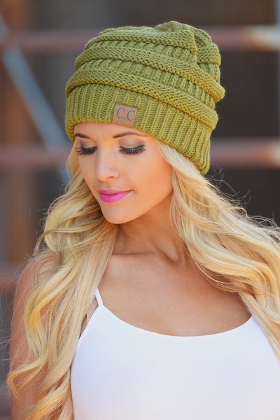 Slouchy Knit Beanies - cute olive knit beanie hat, trendy fall style, Closet Candy Boutique