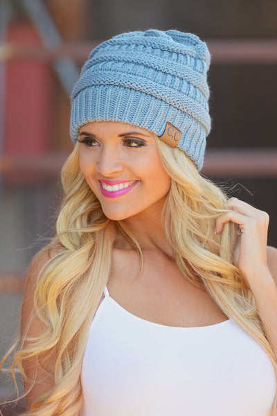 Slouchy Knit Beanies - cute sky blue knit beanie hat, trendy fall style, Closet Candy Boutique