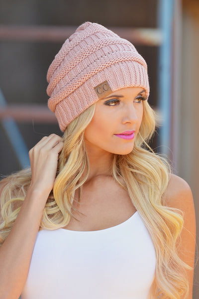 Slouchy Knit Beanies - cute rose knit beanie hat, trendy fall style, Closet Candy Boutique