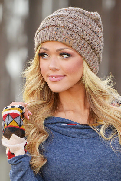 Slouchy Melange Knit Beanies - women's color fleck knit beanie hats, Closet Candy Boutique 9