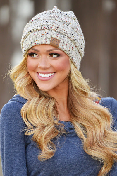 Slouchy Melange Knit Beanies - women's color fleck knit beanie hats, Closet Candy Boutique 6