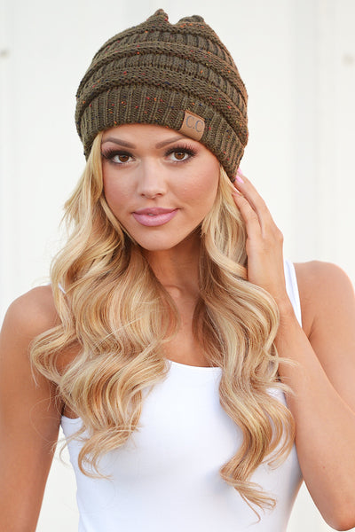 Slouchy Melange Knit Beanies - women's color fleck knit beanie hats, Closet Candy Boutique 7