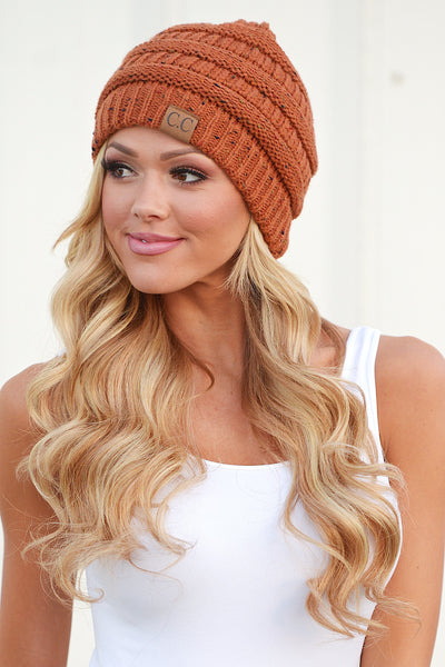 Slouchy Melange Knit Beanies - women's color fleck knit beanie hats, Closet Candy Boutique 8