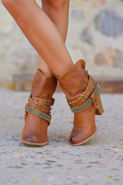 Sparkle and Shine Booties - Tan