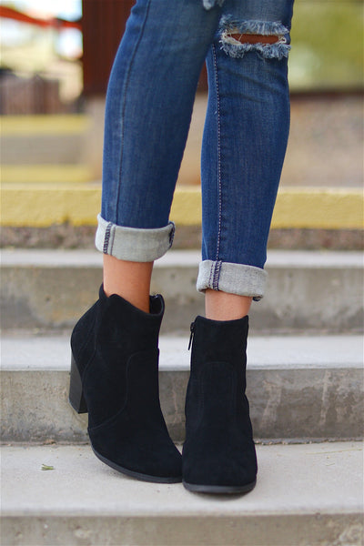 Staying Grounded Suede Bootie - Black