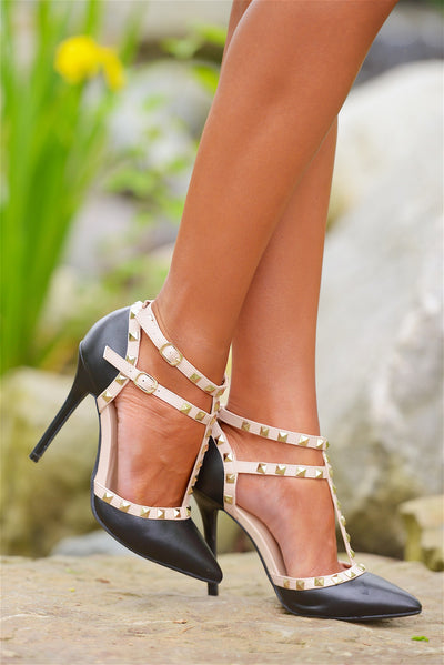 Treat Yourself Studded Strap Heels - Black