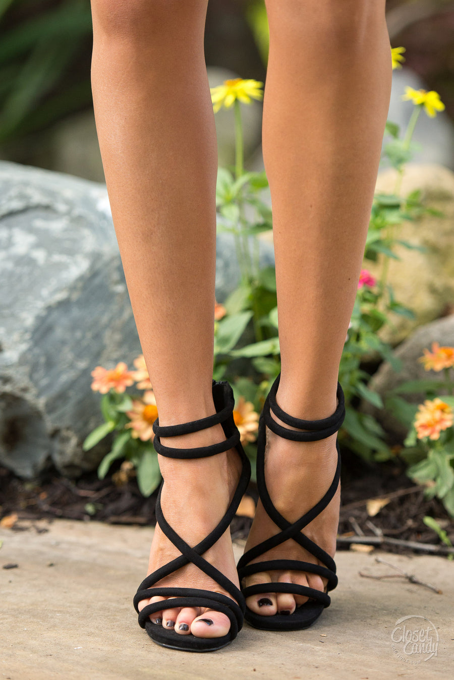 A New York Minute Strappy Heel - Black