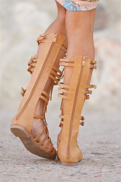 Let The Games Begin Fringe Gladiator Sandals - Tan
