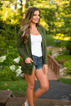 The Nearness of You Cardigan - cute olive cardigan, fall style, side, Closet Candy Boutique 2