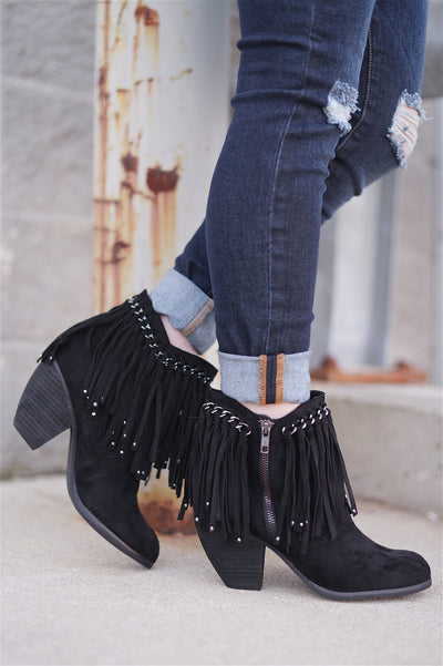 There She Goes Fringe Booties - Black