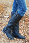 To Die For Black Boots - black vegan leather riding boots with buckles, side view, Closet Candy Boutique