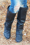To Die For Black Boots - black vegan leather riding boots with buckles, front view, Closet Candy Boutique