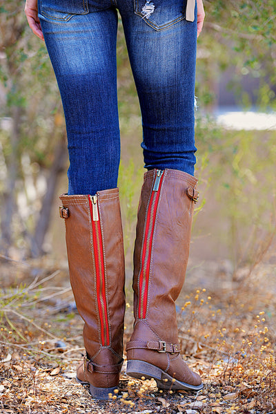 To Die For Tan Boots - Red Zipper