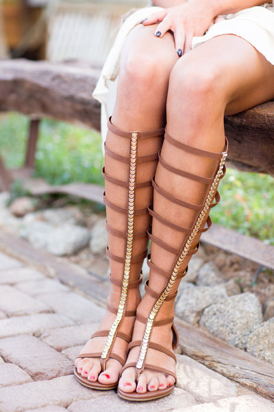 Too Fierce For Words Gladiator Sandals - Chestnut