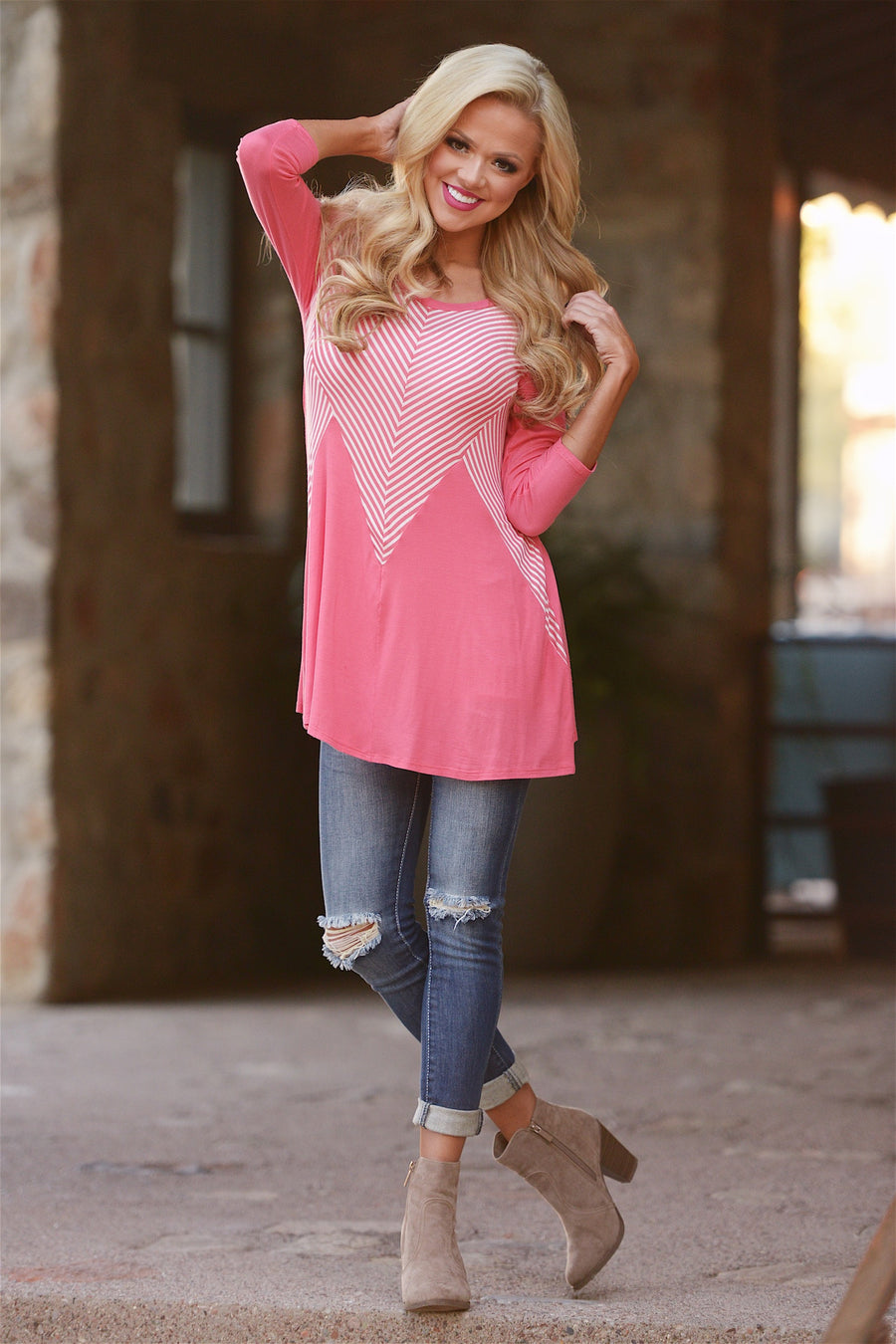 Stellar Match Top - cute coral tunic top, front, Closet Candy Boutique