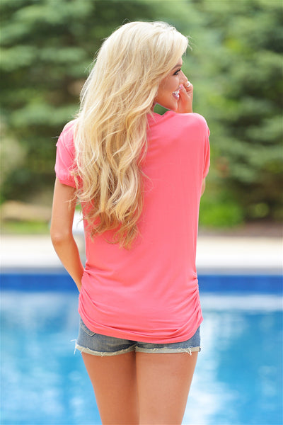 Go With The Wind Top - Coral