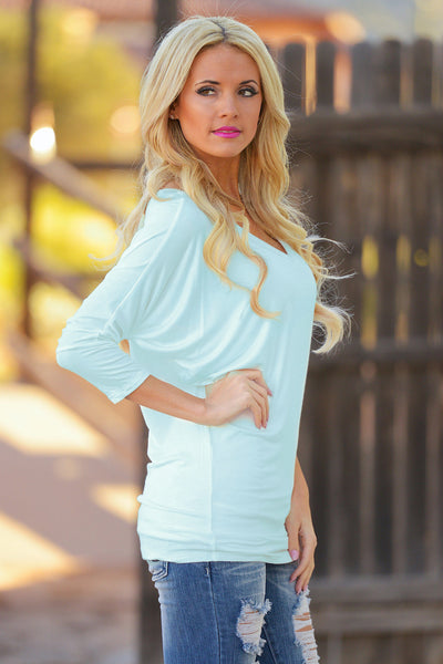 V-Neck Dolman Tunic Tops - v-neck 3/4 sleeve dolman tunic shirt, mint, Closet Candy Boutique