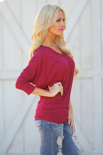 V-Neck Dolman Tunic Tops - v-neck 3/4 sleeve dolman tunic shirt, berry, Closet Candy Boutique