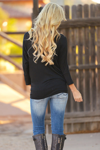 V-Neck Dolman Tunic Tops - v-neck 3/4 sleeve dolman tunic shirt, black, Closet Candy Boutique