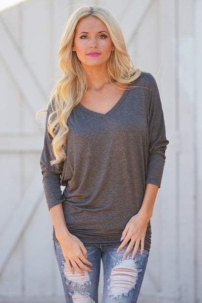 V-Neck Dolman Tunic Tops - v-neck 3/4 sleeve dolman tunic shirt, charcoal, Closet Candy Boutique