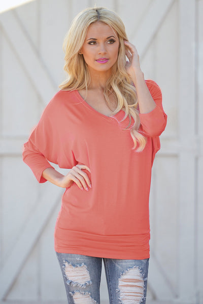 V-Neck Dolman Tunic Tops - v-neck 3/4 sleeve dolman tunic shirt, coral Closet Candy Boutique