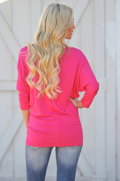 V-Neck Dolman Tunic Tops - v-neck 3/4 sleeve dolman tunic shirt, pink, Closet Candy Boutique