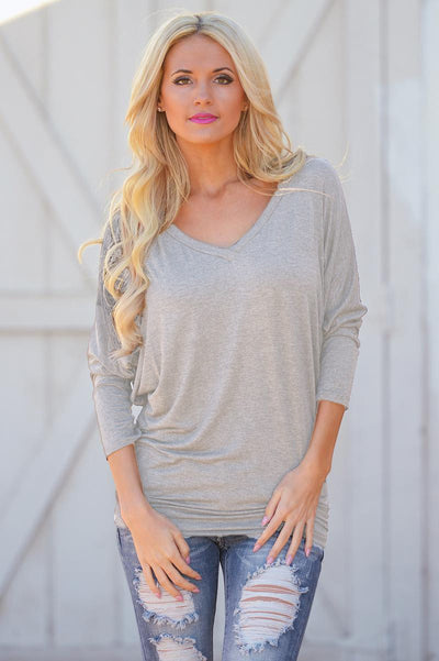 V-Neck Dolman Tunic Tops