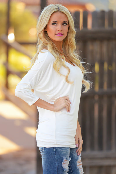 V-Neck Dolman Tunic Tops - v-neck 3/4 sleeve dolman tunic shirt, ivory, Closet Candy Boutique