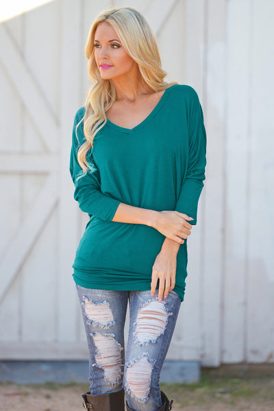 V-Neck Dolman Tunic Tops - v-neck 3/4 sleeve dolman tunic shirt, emerald, Closet Candy Boutique