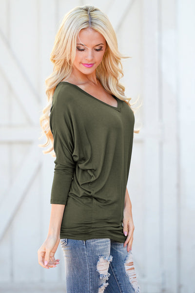 V-Neck Dolman Tunic Tops - v-neck 3/4 sleeve dolman tunic shirt, olive, Closet Candy Boutique