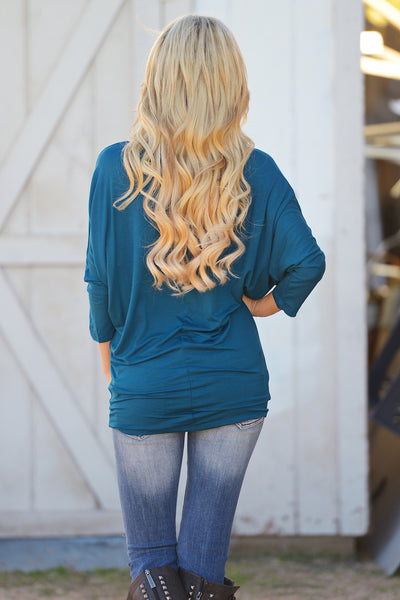 V-Neck Dolman Tunic Tops - v-neck 3/4 sleeve dolman tunic shirt, teal, Closet Candy Boutique