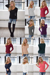 V-Neck Thermal Tops - long sleeve v-neck thermal shirt, Closet Candy Boutique