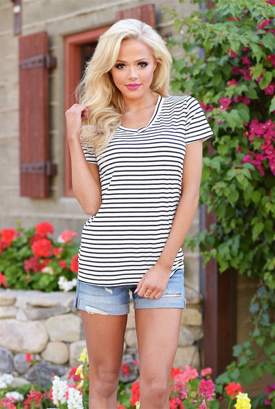 Hello There V-neck Top - stripe short sleeve top, front, Closet Candy Boutique