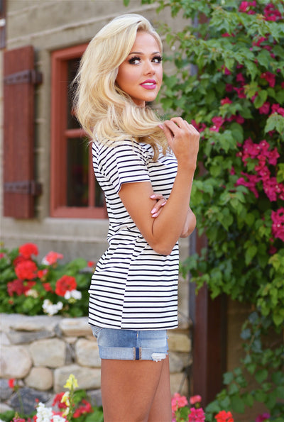 Hello There V-neck Top - stripe short sleeve top, side, Closet Candy Boutique